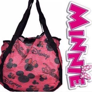 Pink Minnie Mouse hobo mesh tote bag